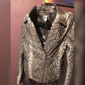 Snake print leather jacket